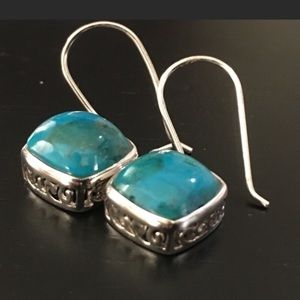 💝 Turquoise Sterling Silver Earrings Stamped 925